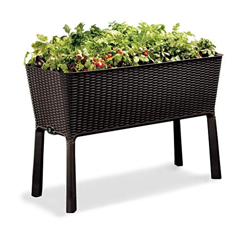 Keter Easy Grow Patio Garden Flower Plant Planter Raised Elevated Garden Bed, Brown (Renewed)