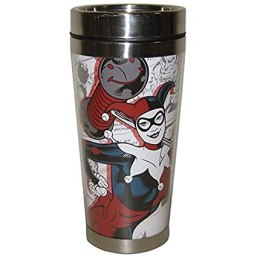Westland Giftware Harley Quinn Stainless Steel & Acrylic Travel Mug, 16 oz, Multicolor