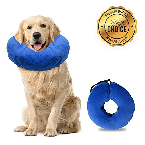 Laboratory 29 Inflatable Dog Collar, Comfy Cone for Dogs, Dog Recovery Collar, Soft Dog Cone, Dog Cone for Dogs and Cats, Washable, Bite and Scratch Resistant (Large)