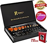 Makeup Brushes Professional - KeizerPro 10 Piece Set of NEW Pro Oval Makeup Brushes + Free Silicone Cleaner and MakeUp Book - Full Gift Box Set with Holder for Perfect and Easy Makeup Even at Home