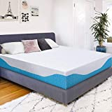 PrimaSleep 12 Inch Multi-Layered I-Gel Infused Memory Foam Mattress, California King, White/Blue