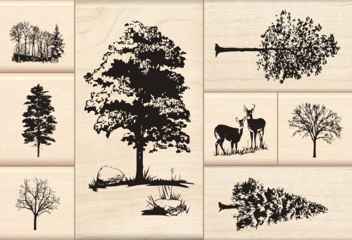 Inkadinkado Trees Wood Stamp Set