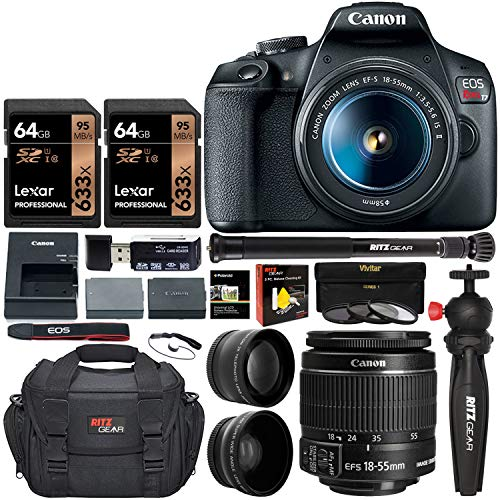 Canon-EOS-Rebel-T7-DSLR-Camera-Travel-Bundle-with-58mm-2X-Professional-Telephoto-58mm-Wide-Angle-Lenses-Lexar-128GB-Compact-Monopod-Table-Tripod-Filter-Kit-UVCPL-ND8-Camera-Bag-More