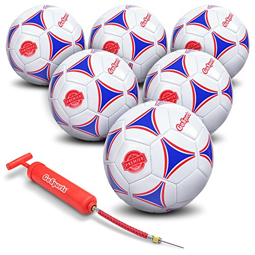 GoSports Premier Soccer Ball with Premium Pump & Mesh Carrying Bag (6 Pack), Size 5, Multicolor