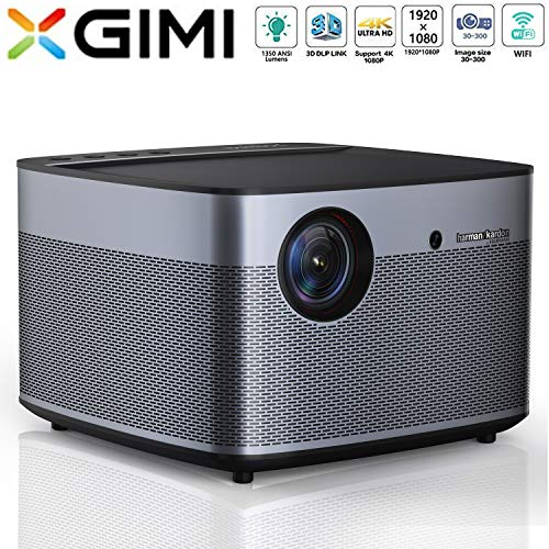 XGIMI H2 LED Smart Projector 1080P HD 1350 ANSI Lumens 3D Projector Home Theater with Harman Kardon Speaker Android System Support 4K Lamp Life up to 50,000 Hours