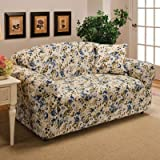 Madison Stretch Jersey Loveseat Slipcover, Floral, Blue