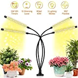 Grow Light, Growing Lamps for Indoor Plants, Ochter 40W 80 LED Grow Light, Full Spectrum Plant Grow Lights for Plants Growth with 3/6/12H Intelligent Timer, 10 Dimmable Levels, USB or AC Powered