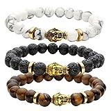 JOVIVI 8MM Unisex Black Lava/Tiger Eye/ Lapis Energy Stone Mala Beads with Gold Buddha Bracelets