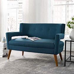Modway Sheer Upholstered Fabric Mid-Century Modern Loveseat, Azure