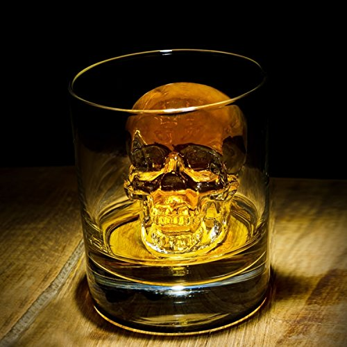 3D Skull Flexible Silicone Ice Cube Mold Tray, Makes Four Giant Ice Skulls, Round Ice Cube Maker For Thanksgiving & Christmas Day, Black - Pack of 1 - By DineAsia