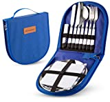 Camping Silverware Kit Cutlery Organizer Utensil Picnic Set - 12 Piece Mess Kit For 2 - Stainless Steel Plate Spoon Butter and Serrated Knife Wine Opener Fork Napkin Hiking - Camp Kitchen BBQ's Travel