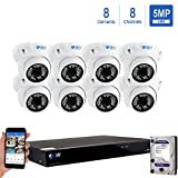GW Security 8 Channel 4K NVR 5MP IP Camera Network PoE Surveillance System with 8-Piece HD 1920P Weatherproof Outdoor Indoor Dome Cameras - White