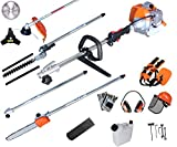 PROYAMA Powerful 42.7cc 5 in 1 Multi functional Trimming Tools,Gas Hedge Trimmer,String Trimmer, Brush Cutter,Pole Saw with Extension Pole