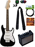 Squier by Fender Mini Strat Electric Guitar - Blue Bundle with Amplifier, Instrument Cable, Tuner, Strap, Picks, Austin Bazaar Instructional DVD, and Polishing Cloth