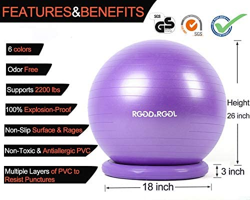RGGD&RGGL Yoga Ball Chair, Exercise Ball with Leak-Proof Design, Stability Ring&2 Adjustable Resistance Bands for Any Fitness Level, 1.5 Times Thicker Swiss Ball for Home&Gym&Office&Pregnancy (65 cm) 4