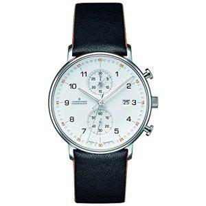 Junghans Form C Chronoscope Quartz Matt Silver Watch | Black Calfskin 041/4771.00