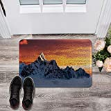 Aomike Durable Non Slip Door Mats Outside Inside Rug 18' x 30' for Living Room/Bathroom/Kitchen/Outdoor Doormat Waterproof and Easy Clean- The Summit of Mount Everest Under Sunset