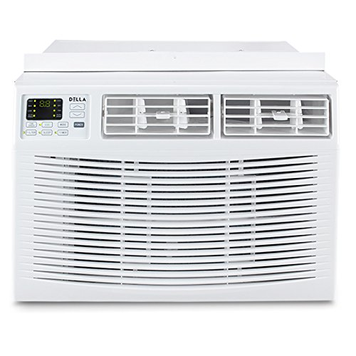 DELLA 10,000 BTU Window Air Conditioner Room Up to 450 Sq Feet 115V Energy Star Mini Compact w/Remote Control, White