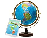 SJ SMART GLOBE with Interactive APP & LED Illuminated Constellations at Night, Educational Content for Kids, US-Certified LED & US-Patented STEM Toy, 10' Globe with Detailed map