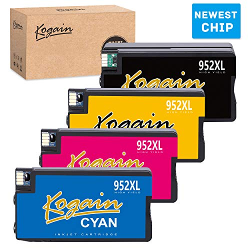 Kogain Updated Remanufactured for HP 952 952XL Ink Cartridges, Work with HP Officejet PRO 8720 8740 7740 8210 8216 8730 7720 8702 8715 8716 8725 8727 8728 Printer (1 Black 1 Cyan 1 Magenta 1 Yellow)