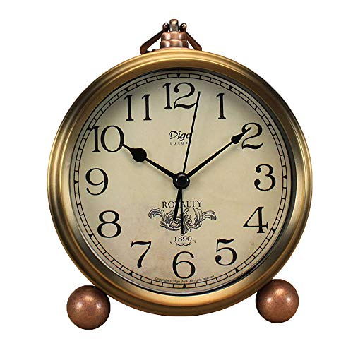 Justup Golden Table Clock, Retro Vintage Non-Ticking Table Desk Alarm Clock Battery Operated Silent Quartz Movement HD Glass for Bedroom Living Room Indoor Decoration Kids (Arabic)