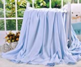 LAGHCAT Air Conditioning Cool Throw Blankets - Lightweight Bamboo Fiber Knitted Throws Summer Thin Blanket for Couch/Sofa/Bed,Sleeping Cover for Adults Chidren Kids Blue - 79' x 90'