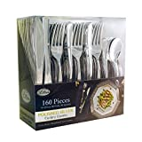 Plastic Cutlery Silverware Extra Heavyweight Disposable Flatware, Full Size Cutlery Combo, Polished Silver, 80 Forks, 40 Spoons, 40 Knifes, Value Pack 160 Count