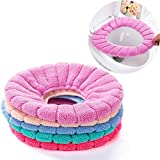 5 pcs different color Bathroom Soft Thicker Warmer Stretchable Washable Cloth Easy Installation & Cleaning Comfortable Toilet Seat Cover Pads