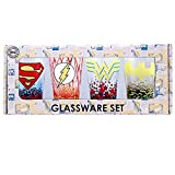 Silver Buffalo DC031P3 DC Comics Superman, The Flash, Wonder Woman and Batman Character Logos Pint Glass Set, 4-Pack