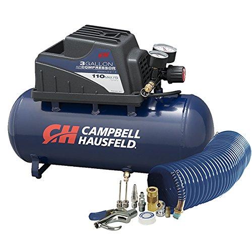 Air Compressor, Portable, 3 Gallon Horizontal, Oilless, w/ 10 Piece Accessory Kit Including Air Hose & Inflation Gun (Campbell Hausfeld FP209499AV)