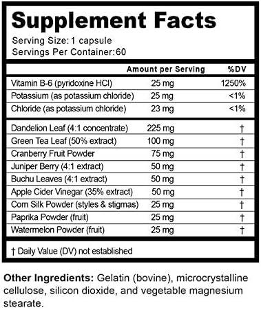 Natural Water Pills - Reduce Excess Water - Weight Loss Appetite Suppressant Benefits - Vitamin B6 Pyridoxine Hydrochloride - Dandelion Root + Pure Green Tea Diuretic for Women & Men 11