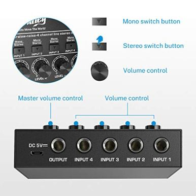 Moukey-Ultra-Low-Noise-4-Channel-Line-Mixer-for-Sub-Mixing-DC-5V-4-Stereo-Mini-Audio-Mixer-Ideal-for-Small-Clubs-or-Bars-As-Microphones-Guitars-Bass-Keyboards-or-Stage-Mixer-MAMX1