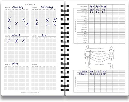 Cossac Fitness Journal & Workout Planner - Designed by Experts Gym Notebook, Workout Tracker,Exercise Log Book for Men Women 8