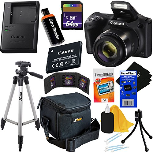 Canon-Powershot-SX420-is-20-MP-Wi-Fi-Digital-Camera-with-42x-Zoom-Black-Includes-Canon-NB-11LH-Battery-Canon-Charger-9pc-64GB-Deluxe-Accessory-Kit-wHeroFiber-Cloth