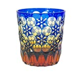 Ohba Glass Old-Fashoned Cut Glass Edo Kiriko, Japanese Traditional Craft in Gift Box Kaleidoscope (Ultramarine/Amber)