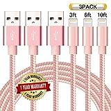 Ulimag Lightning Cable 3Pack 3FT 6FT 10FT (Pink)