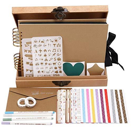 INNOCHEER Scrapbook Classic Photo Album Storage Box, 80 Pages Craft Paper DIY Anniversary,, Wedding Photo Album DIY Accessories Kit