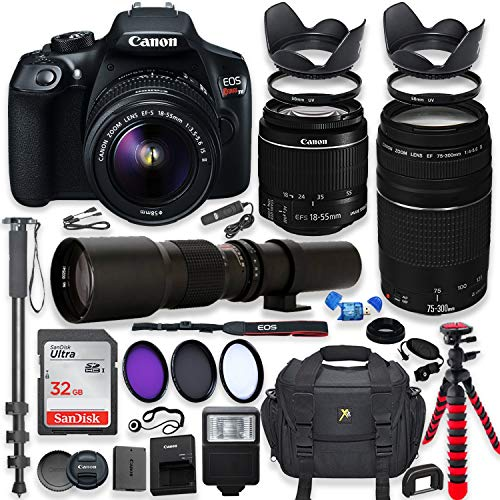 Canon-EOS-Rebel-T6-DSLR-Camera-with-18-55mm-is-II-Lens-Bundle-Canon-EF-75-300mm-f4-56-III-Lens-and-500mm-Preset-Lens-32GB-Memory-Filters-Monopod-Spider-Tripod-Professional-Bundle