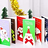 6 Pack Christmas Greeting Cards With Envelopes, Thanksgiving Cards Assortment, Santa Claus, Snowman, Christmas Deer, Christmas Tree, Unicorn, Handwritten Style, Christmas Gifts (3.7 x 7.8 inches)