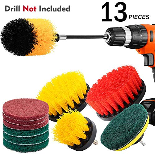 KNGUVTH 13 Piece Drill Brush Attachments Set, Power Scrubber Brush Cleaning Kit with Scrub Pads & Drill bit Extender - Cleaning Supplies for Bathroom, Grout, Floor, Tub, Tiles, Sinks, Kitchen, Car