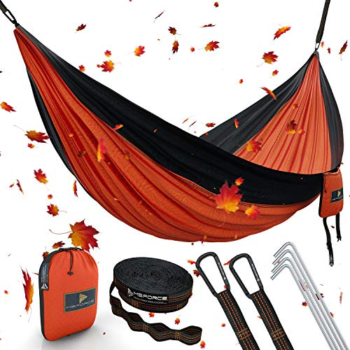 ONE DAY SALE! Double Camping Hammock Waterproof Lightweight Parachute 240T Portable Hammock, 2 Heavy-Duty 1500 lbs Capacity Carabiners, with 2 Tree Straps For Outdoor Backpacking Indoor 118'L x 78'W