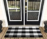 Buffalo Plaid Rug - YHOUSE Checkered Indoor/Outdoor Door Mat Outdoor Doormat for Front Porch/Kitchen/Laundry Room Welcome Layered Mat (23.6'X35.4', Black and White Plaid)