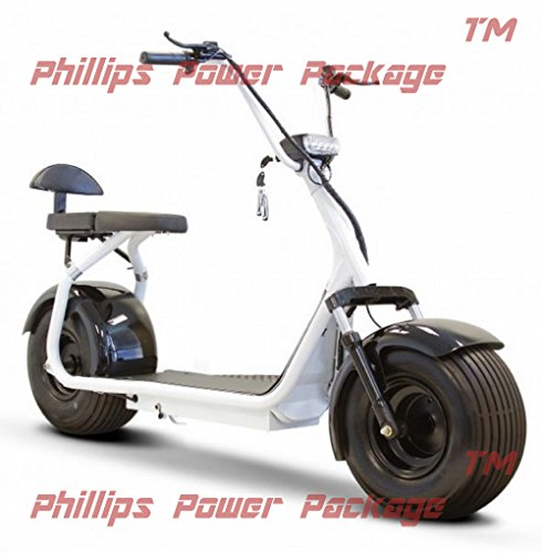 E-Wheels - Fat Tire Electric Scooter - 2-Wheel - White - PHILLIPS POWER PACKAGE TM - TO $500 VALUE