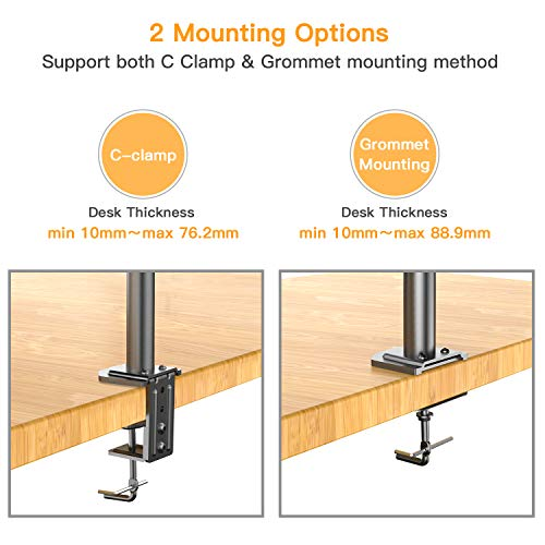 HUANUO Dual Monitor Mount, Fully Adjustable for Two 13 to 27 inch LCD LED Screens, 2 Mounting Options, VESA 75/100