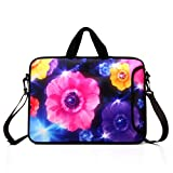 "10-Inch Laptop Shoulder Bag Sleeve Case with Padded Handle for 9.6"" 9.7' 10' 10.1' 10.5' Ipad/Netbook/Tablet/Reader (Colourful Flower)"