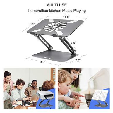 Skrebba-Laptop-Stand-EPN-Laptop-Riser-with-Heat-Vent-to-Elevate-Laptop-Adjustable-Height-Laptop-Stand-Holder-with-Slide-Proof-Silicone-and-Protective-Hooks-for-MacBook-ProAir-Dark-Grey