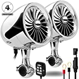 GoHawk AN4 Gen.2 All-in-One Built-in Amplifier 4' Full Range Waterproof Bluetooth Motorcycle Stereo Speakers Audio Amp System w/AUX for 7/8 to 1-1/4 Bar Harley ATV RZR UTV Quad 4 Wheeler