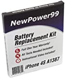 NewPower99 Battery Replacement Kit for iPhone 4S A1387 with Installation Video, Tools, and Extended Life Battery.