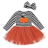 Toddler Baby Halloween Outfits Kids Girls Pumpkin Print Long Sleeve Dress Striped Skirts Halloween Day Clothes(2T/3T)