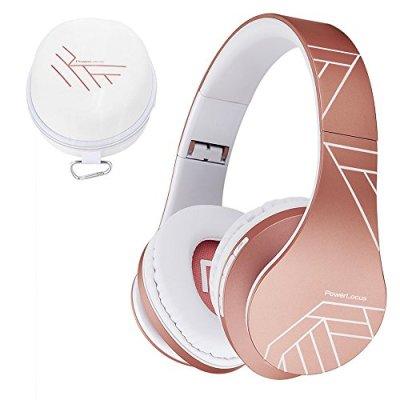PowerLocus Bluetooth Cuffie Auricolari Pieghevoli, Over Ear Bluetooth Headphones Stereo Senza Fili Cuffie o Collegate Headset con Microfono, Micro SD/TF, FM per iPhone/Samsung/iPad/PC (Oro Rosa)